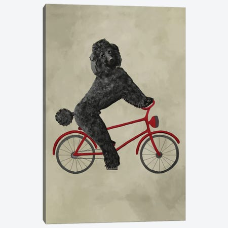 Poodle On Bicycle Canvas Print #COC62} by Coco de paris Canvas Art