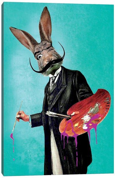 Rabbit Painter Canvas Art Print