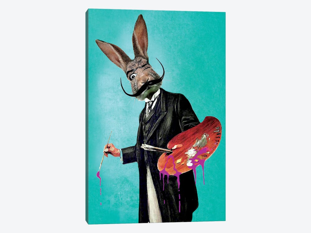 Rabbit Painter by Coco de Paris 1-piece Canvas Print