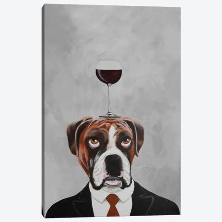 Boxer With Wineglass Canvas Print #COC6} by Coco de Paris Canvas Art