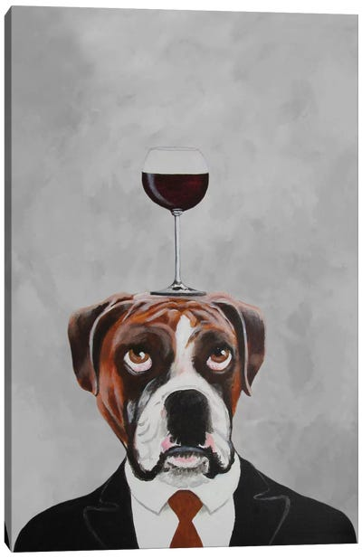 Boxer With Wineglass Canvas Print #COC6