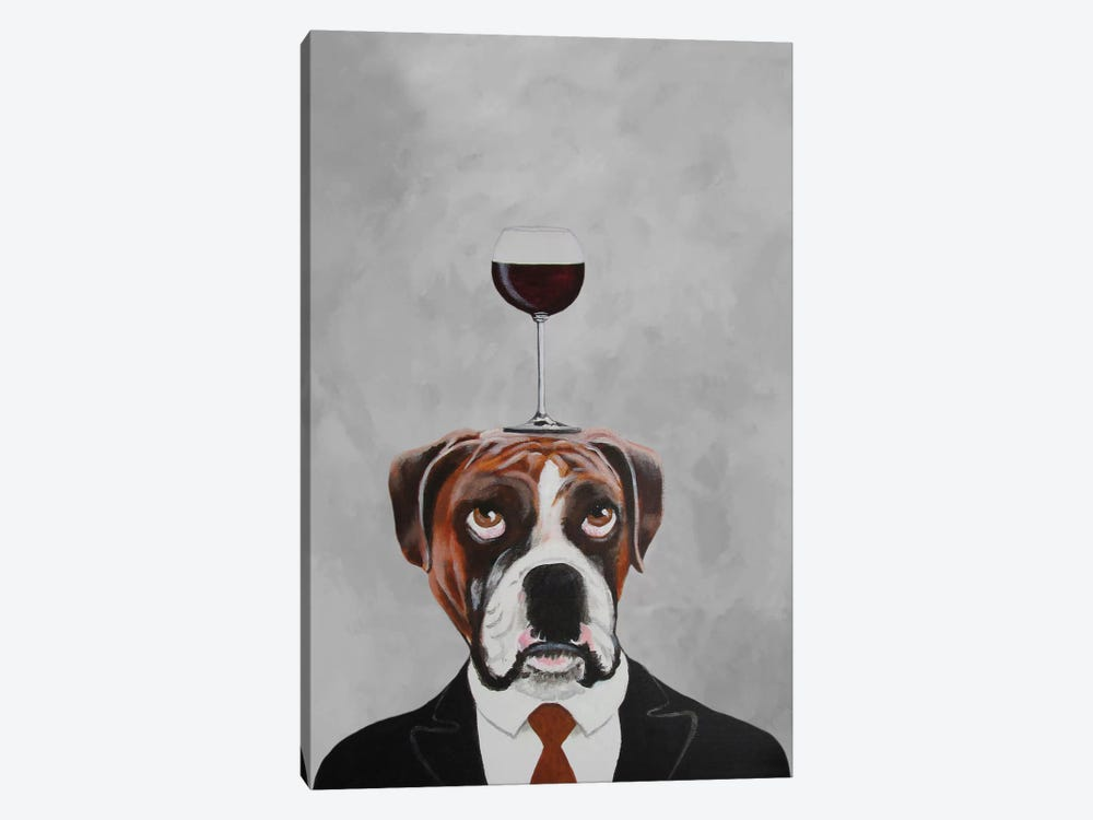 Boxer With Wineglass by Coco de Paris 1-piece Canvas Art