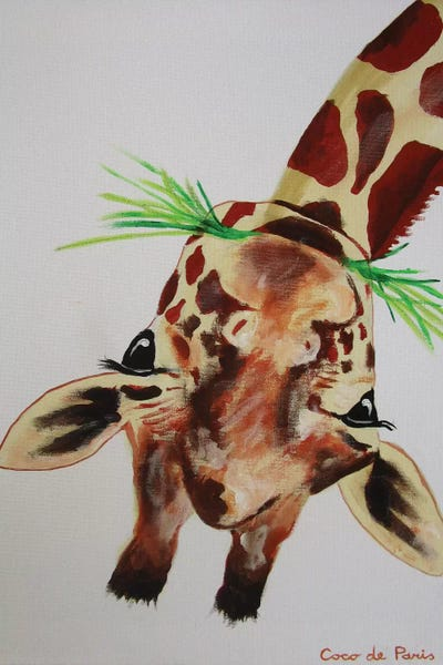 Upside Down Giraffe Canvas Art Print By Coco De Paris