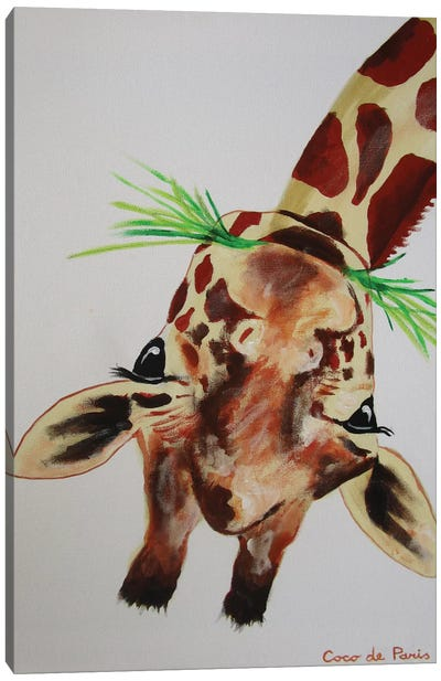 Upside Down Giraffe Canvas Art Print