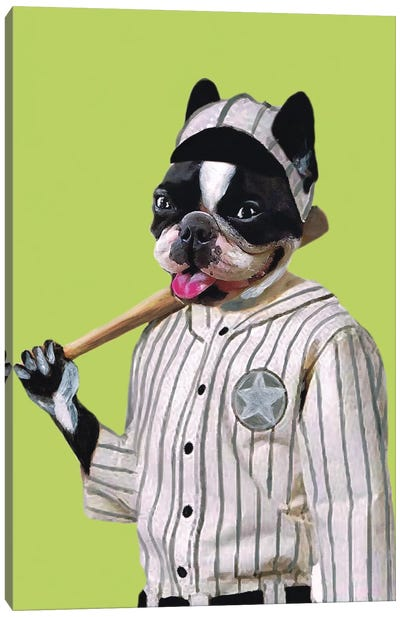Bulldog Baseball Player Canvas Art Print