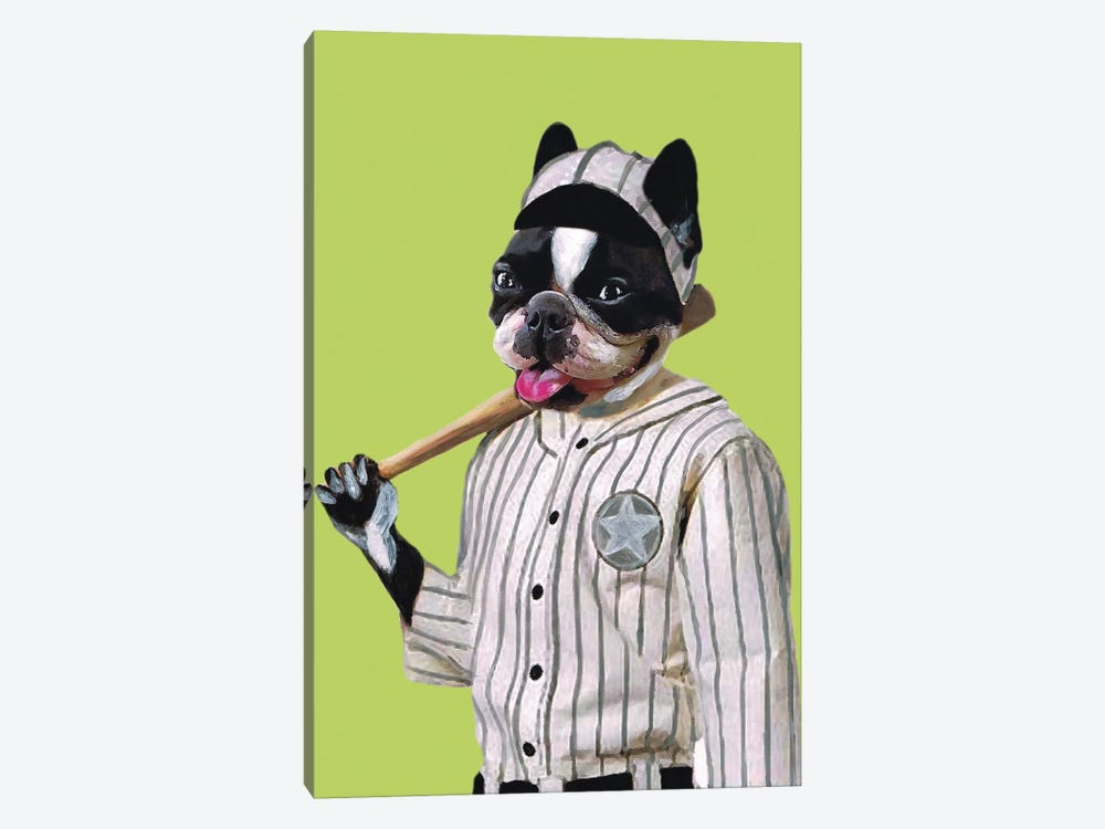 Bulldog Baseball Player by Coco de Paris 1-piece Canvas Print