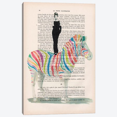 Audrey Hepburn On Rainbow Zebra Canvas Print #COC80} by Coco de Paris Canvas Wall Art