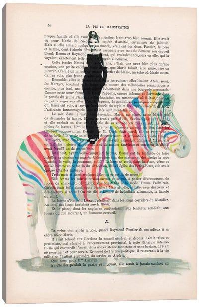 Audrey Hepburn On Rainbow Zebra Canvas Art Print