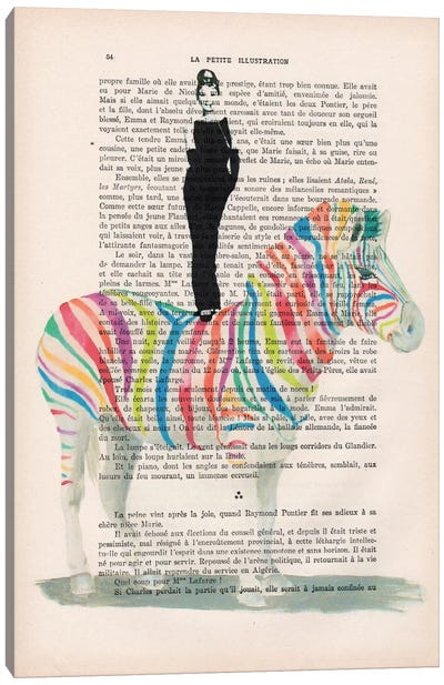 Audrey Hepburn On Rainbow Zebra Canvas Art Print