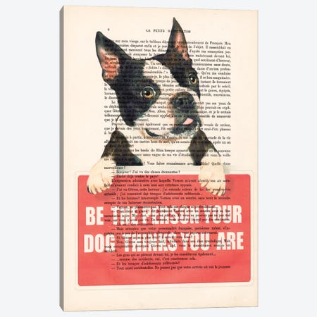 Boston Terrier With Message Canvas Print #COC82} by Coco de paris Canvas Artwork
