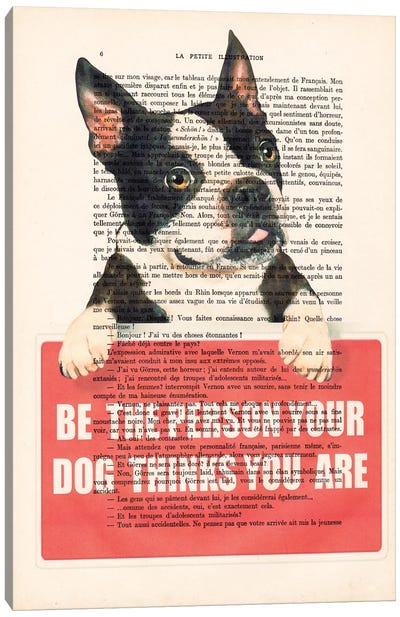 Vintage Paper Series: Boston Terrier With Message Canvas Print #COC82