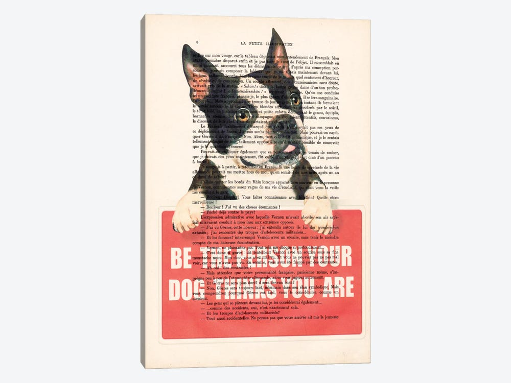 Boston Terrier With Message 1-piece Canvas Art