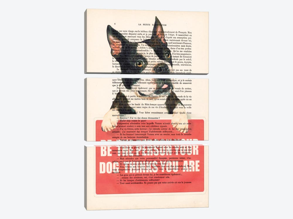 Boston Terrier With Message 3-piece Canvas Art