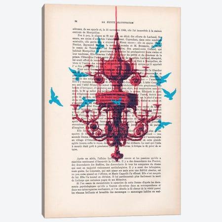 Chandelier With Blue Birds Canvas Print #COC84} by Coco de Paris Canvas Print