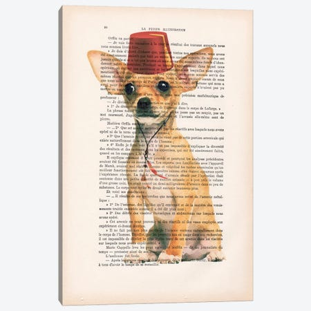 Chihuahua With Fez Canvas Print #COC85} by Coco de paris Canvas Print