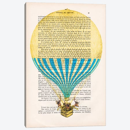Deer In Air Balloon Canvas Print #COC89} by Coco de paris Canvas Art