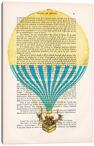 Vintage Paper Series: Deer In Air Balloon Canvas Print #COC89