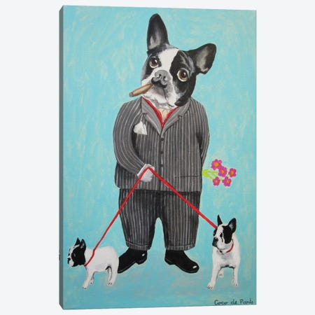 Bulldog Dog Walker Canvas Print #COC8} by Coco de paris Art Print
