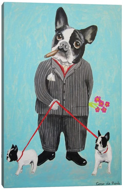 Bulldog Dog Walker Canvas Art Print