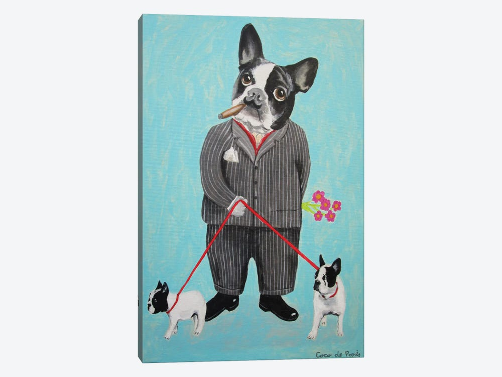 Bulldog Dog Walker 1-piece Canvas Wall Art