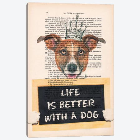 Doggy With A Message Canvas Print #COC91} by Coco de paris Canvas Art Print