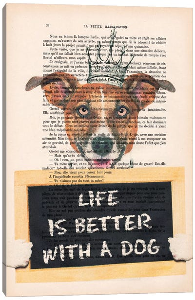Vintage Paper Series: Doggy With A Message Canvas Art Print