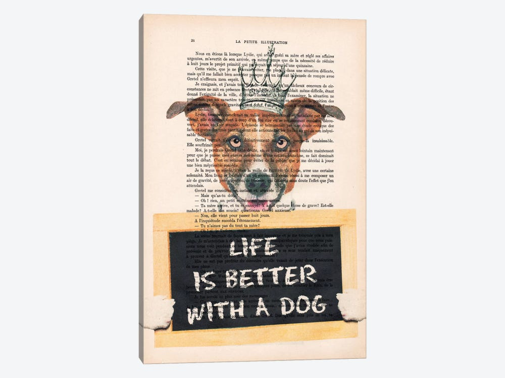 Doggy With A Message by Coco de paris 1-piece Canvas Wall Art