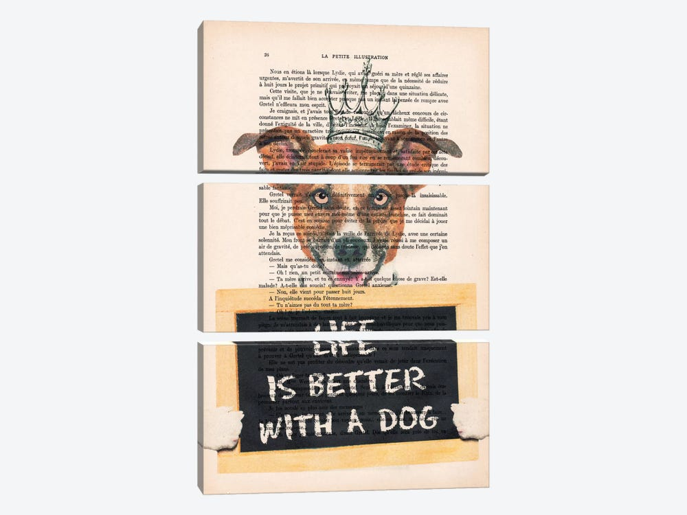 Doggy With A Message by Coco de paris 3-piece Canvas Art
