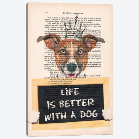 Doggy With A Message Canvas Print #COC91} by Coco de Paris Canvas Art Print