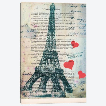 Eiffel Tower Love Canvas Print #COC92} by Coco de Paris Canvas Print