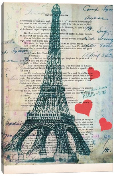 Vintage Paper Series: Eiffel Tower Love Canvas Print #COC92