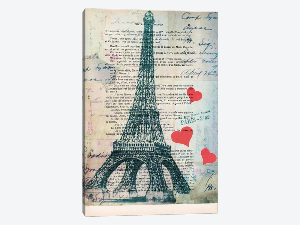 Eiffel Tower Love by Coco de paris 1-piece Canvas Art Print