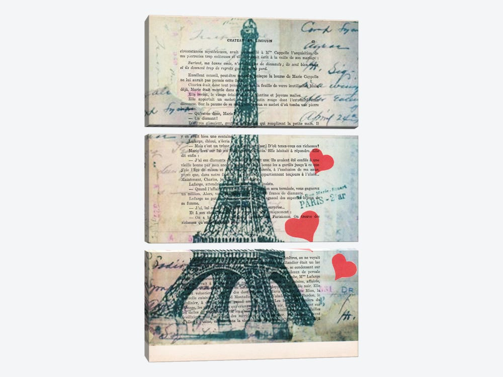 Eiffel Tower Love by Coco de paris 3-piece Canvas Print
