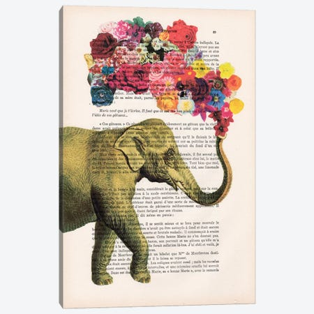 Elephant Flowers Canvas Print #COC93} by Coco de Paris Art Print