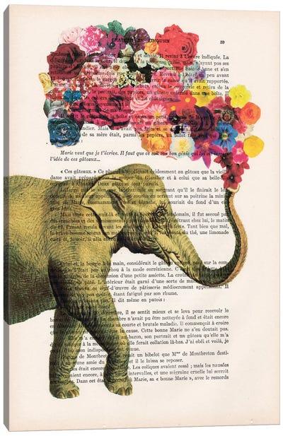 Vintage Paper Series: Elephant Flowers Canvas Print #COC93
