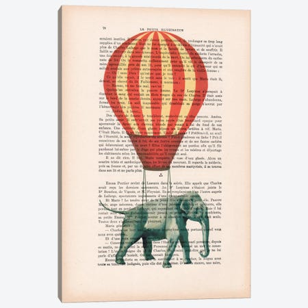 Elephant With Air Balloon Canvas Print #COC94} by Coco de Paris Canvas Art