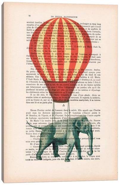 Vintage Paper Series: Elephant With Air Balloon Canvas Print #COC94
