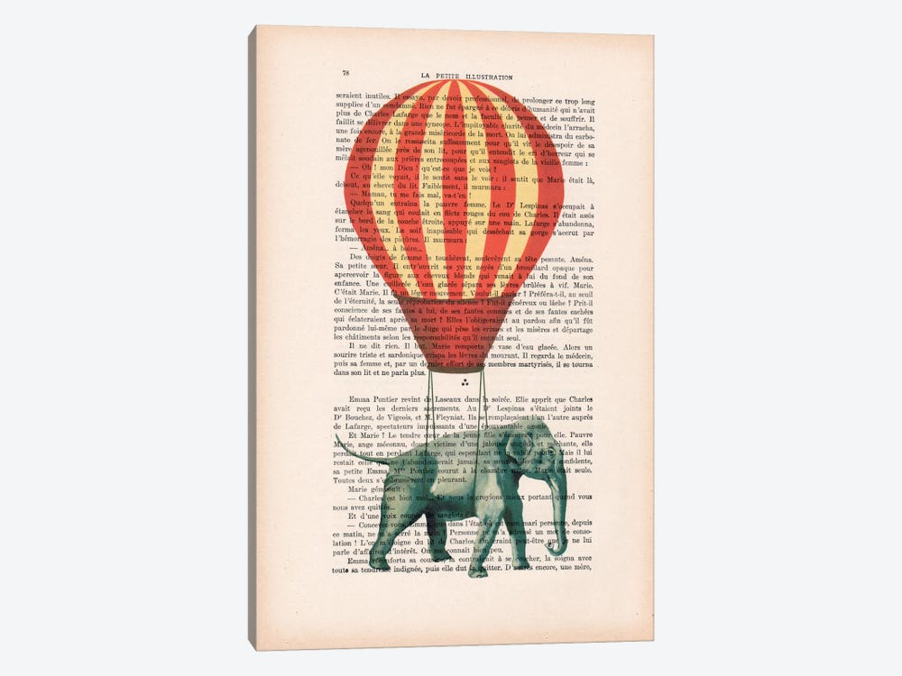 Elephant With Air Balloon by Coco de Paris 1-piece Art Print