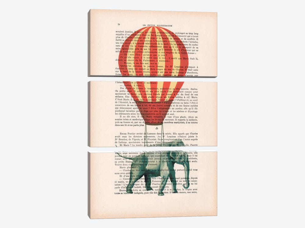 Elephant With Air Balloon by Coco de Paris 3-piece Art Print