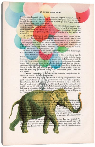 Vintage Paper Series: Elephant With Balloons Canvas Print #COC95