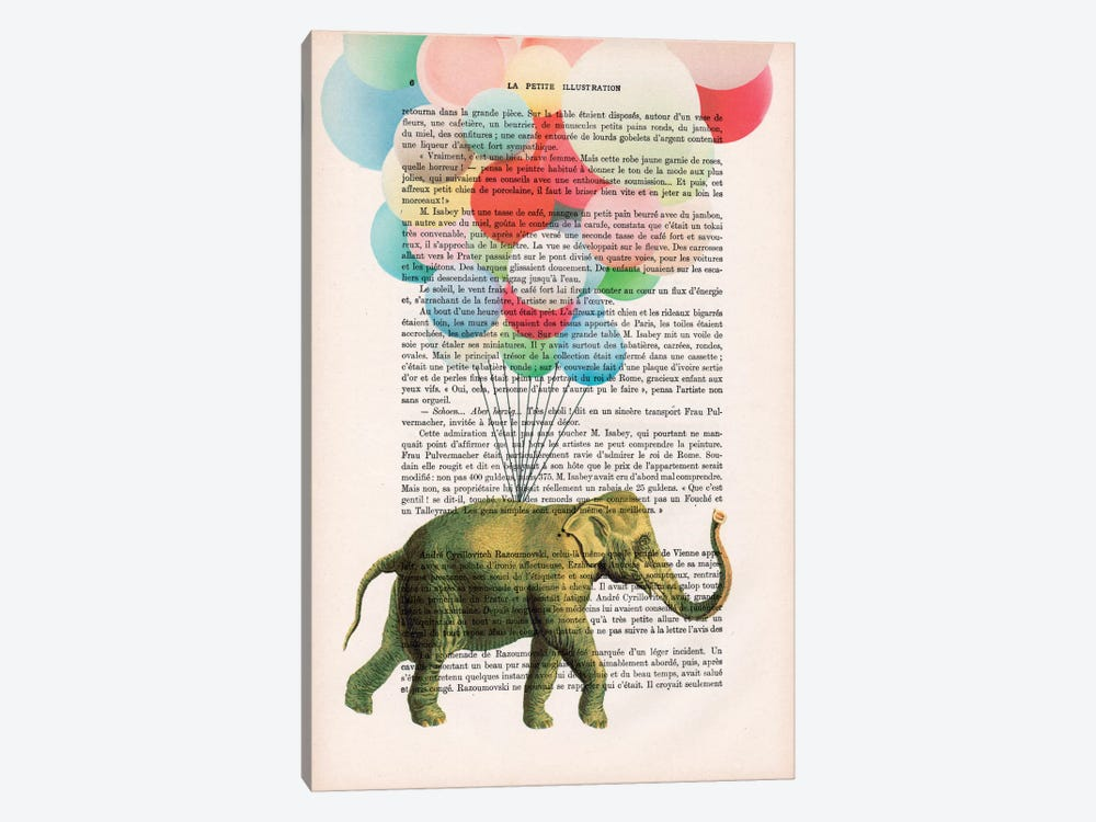 Elephant With Balloons by Coco de Paris 1-piece Canvas Artwork