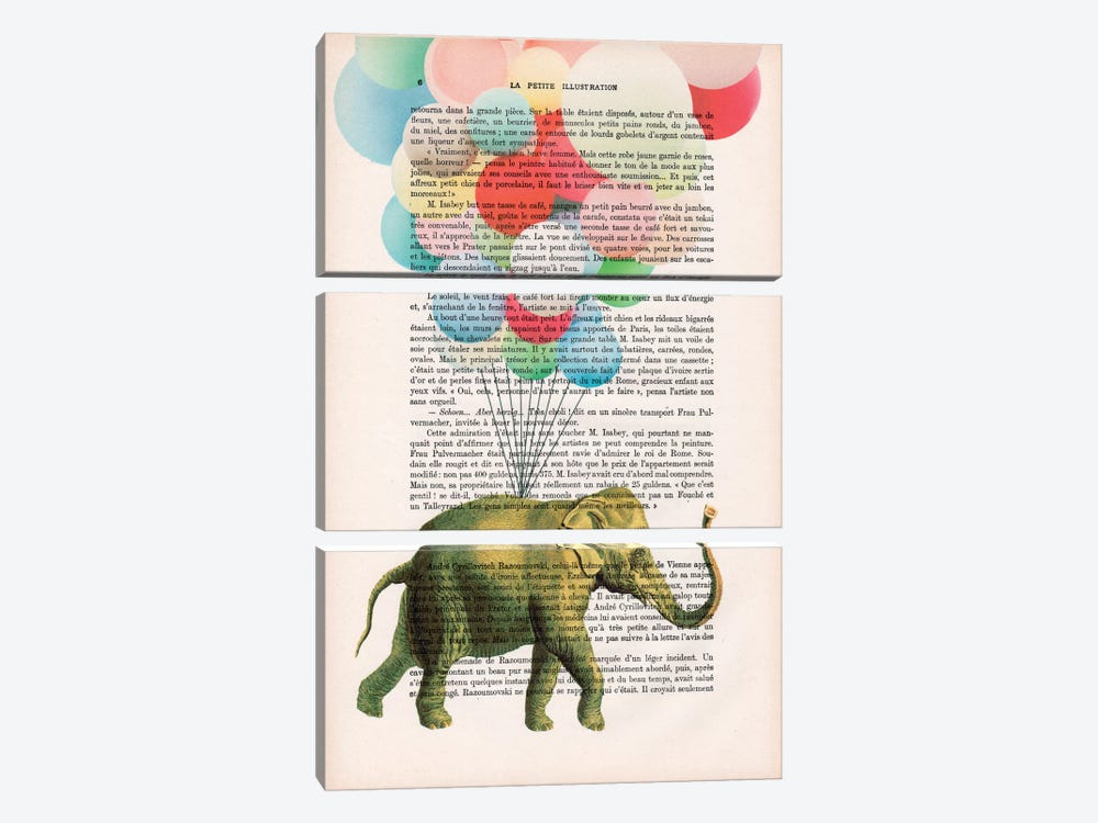Elephant With Balloons 3-piece Canvas Art
