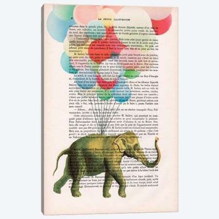Elephant With Balloons Canvas Print #COC95} by Coco de Paris Canvas Art
