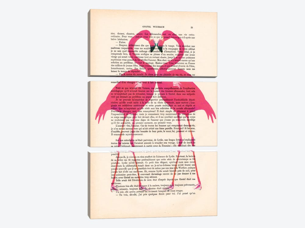 Flamingo Heart by Coco de Paris 3-piece Canvas Art