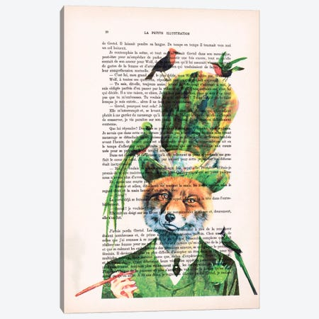 Fox With Birds Canvas Print #COC99} by Coco de Paris Canvas Art Print