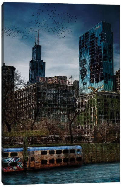 Post Apocalyptic Chicago Canvas Art Print