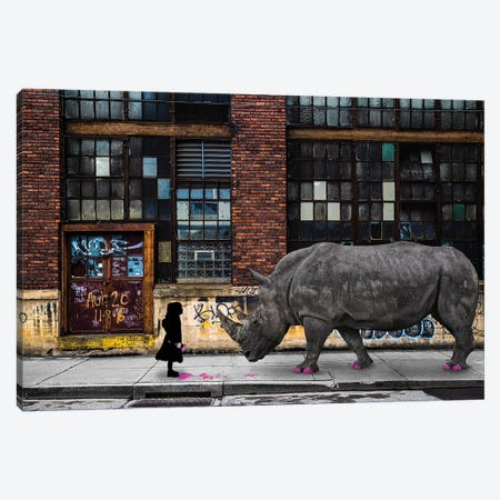 Real Rhinos Wear Pink Canvas Print #COG13} by Matt Coglianese Art Print