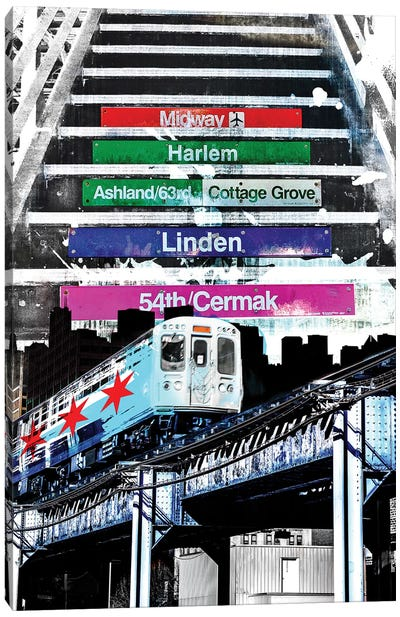 Orange Line And Dime Canvas Art Print