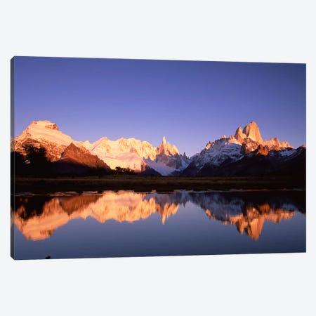 Cerro Solo, Cerro Torre And Mount Fitz Roy At Dawn, Los Glaciares National Park, Patagonia, Argentina Canvas Print #COL10} by Colin Monteath Canvas Art