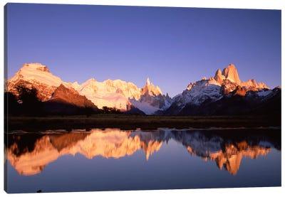 Cerro Solo, Cerro Torre And Mount Fitz Roy At Dawn, Los Glaciares National Park, Patagonia, Argentina Canvas Art Print